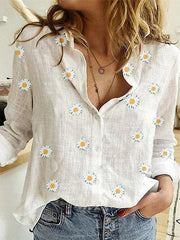 Women's Long Sleeve V Neck Printed Casual Shirts & Tops