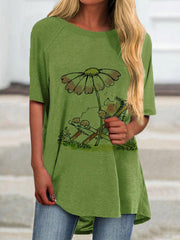 Womne's Green Half Sleeve Casual Round Neck Shirts & Tops
