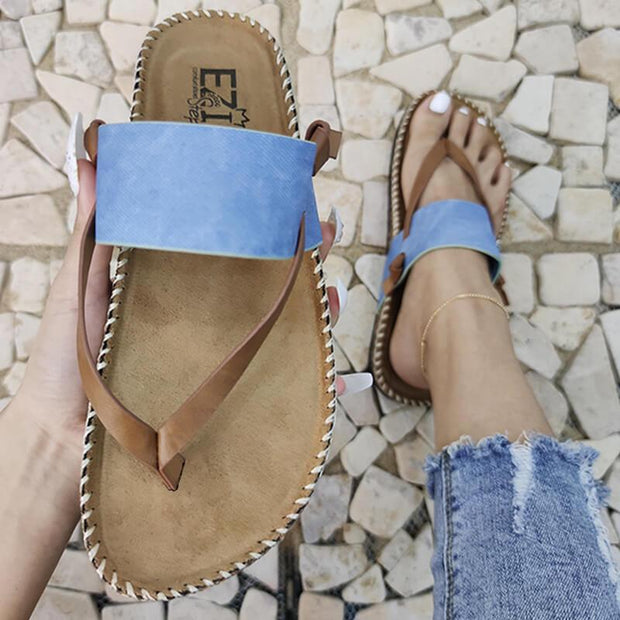 Women's Leather Hit Color Thongs Slip On Slippers