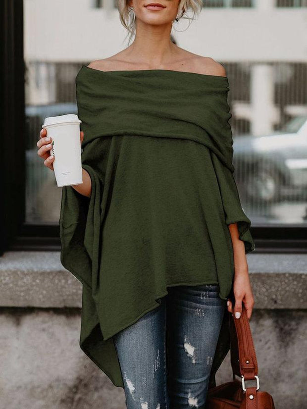 Fashion Solid Casual Off Shoulder Asymmetric Casual Tops