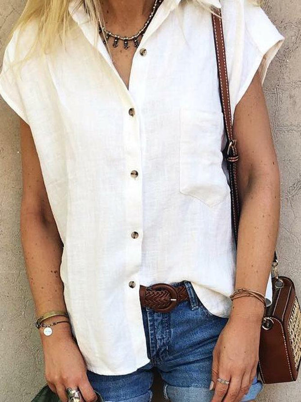 Casual Plain Shirt Collar Cotton-Blend Blouses&shirts