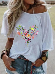 One Shoulder Holiday Cotton-Blend Butterfly Shirts & Tops