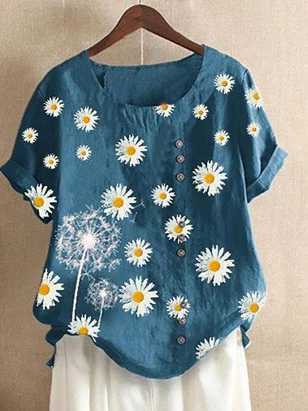 Plus Size Summer Short Sleeve O-Neck Dandelion Daisy Printed Tshirts