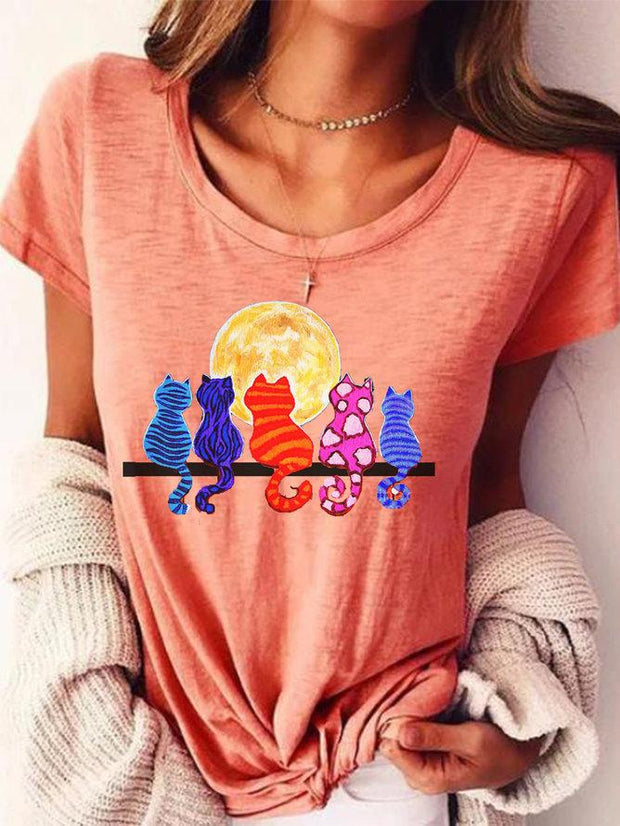 Women's Pink Short Sleeve Round Neck Shirts & Tops
