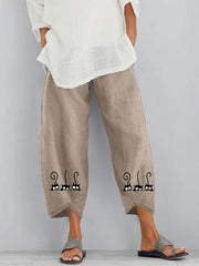 Women's White Cotton Casual Printed Pants