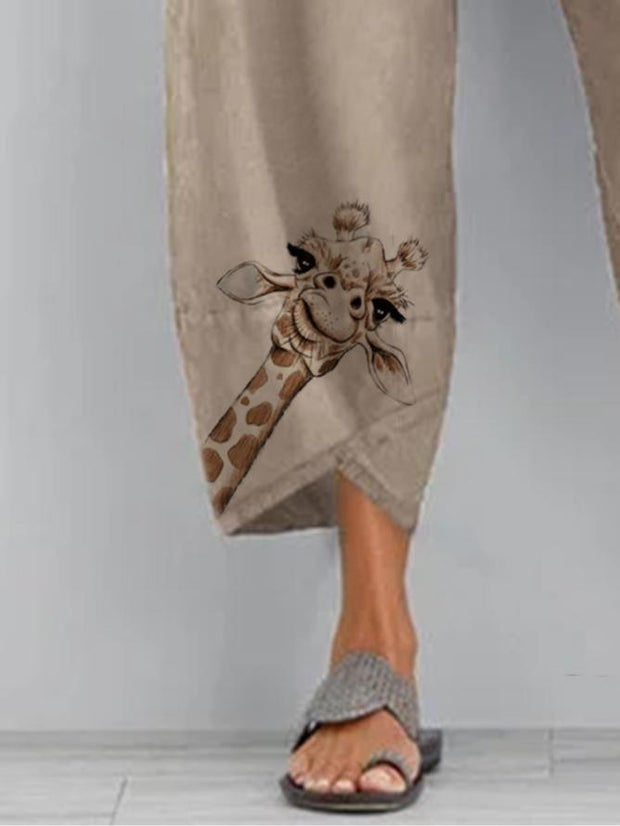 Khaki Cotton Casual Printed Pants