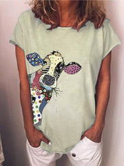 Retro Casual Large Sizes Graphic Tee Shirts Blouses & Shirts