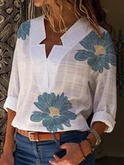 Women's White Cotton-Blend Long Sleeve V Neck Printed Shirts & Tops