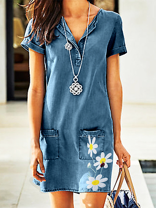 Blue Casual Printed Short Sleeve Dresses