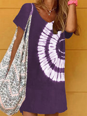 Women'S V-Neck Tie-Dye Print Dress