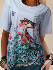 Women Cat Pattern Short Sleeves Casual Summer Tees
