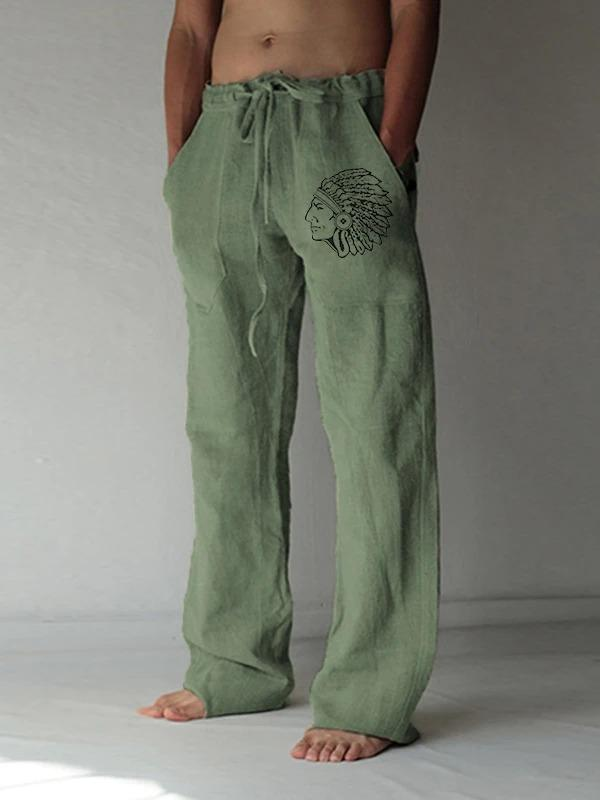Men's Cotton Linen Indian Print Straight-Leg Pants