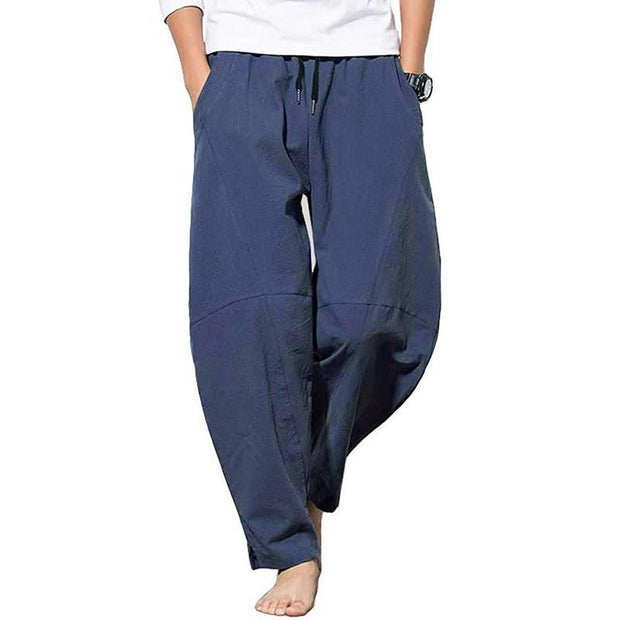 Men's Solid Color Trousers Casual Loose Baggy Breathable Drawstring Strainght Wide Leg Pant
