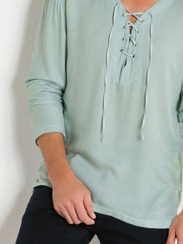 Green Translucent solid colors V-Neck Shirts & Blouses & Shirts