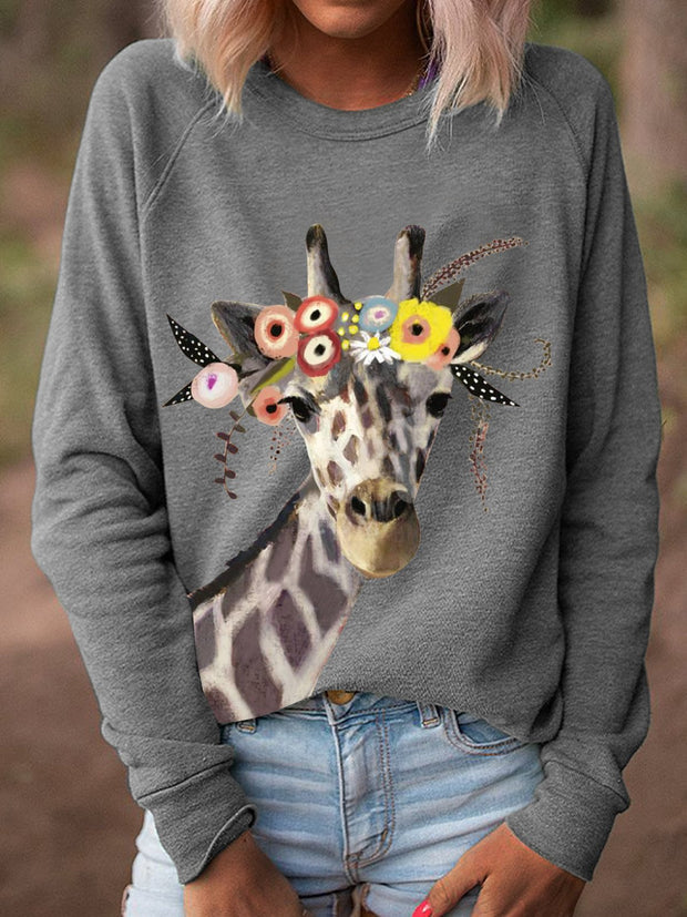 Women Giraffe Floral Print Long Sleeves Casual T-Shirts
