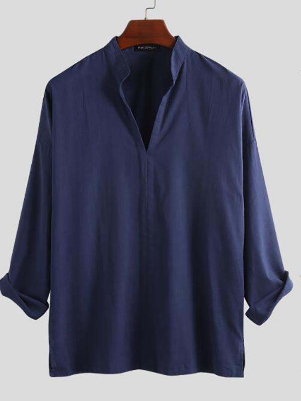 Men's Casual cotton high collar shirts & blouses & shirts