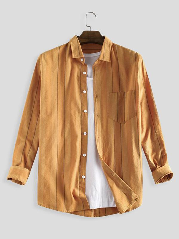 Men's Yellow V-neck Casual Shirts & Blouses & Shirts