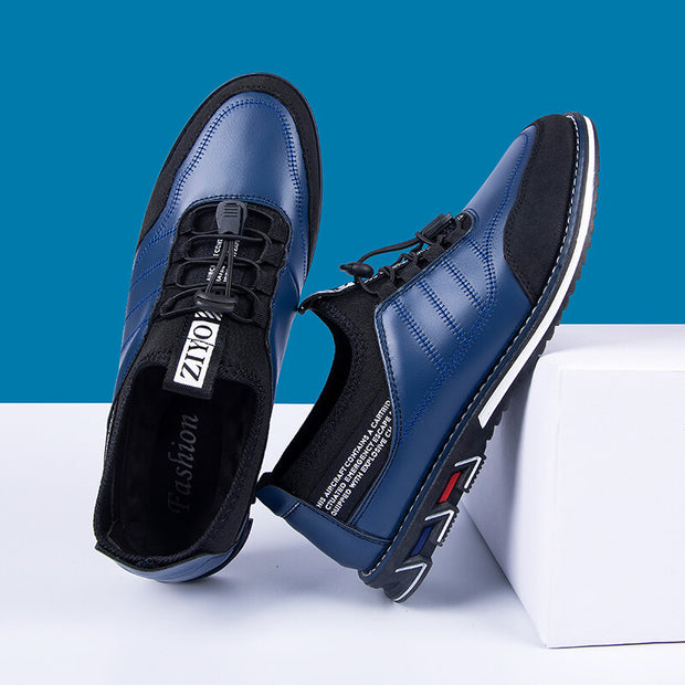 Men's Microfiber Leather Splicing Non Slip Elastic Lace Casual Shoes