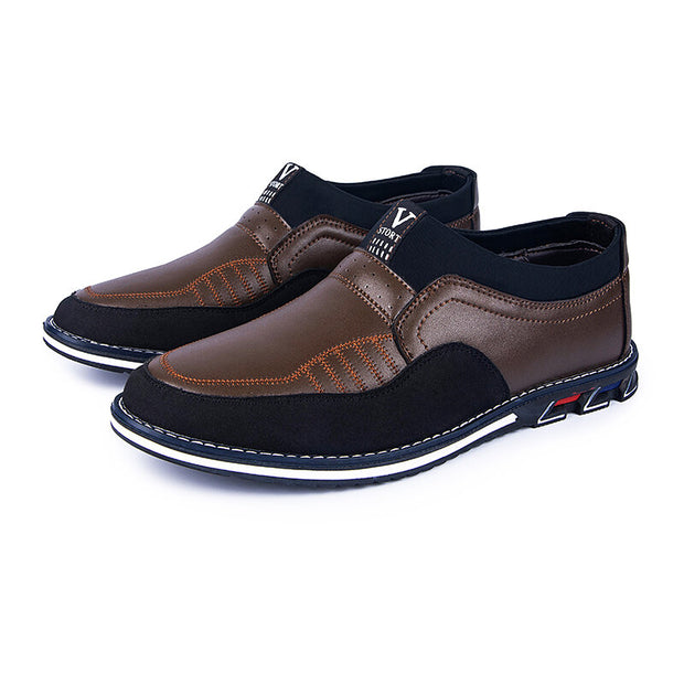 Men's Microfiber Leather Splicing Non Slip Slip On Casual Driving Shoes