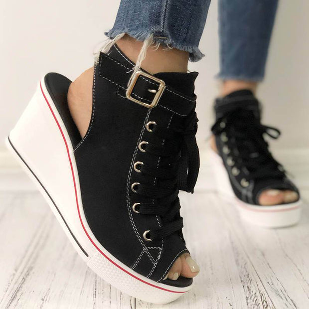 Women's Comfy Zipper Open Toe Wedge Heel Sandals