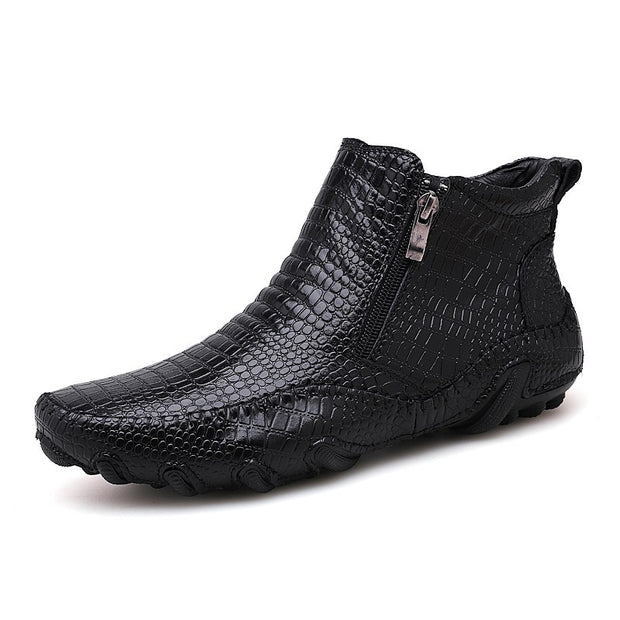 Men Large size crocodile leather shoes Martin style boots