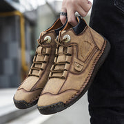 Men's Hand-stitched Leather Lace Up Comfy Ankle Boots