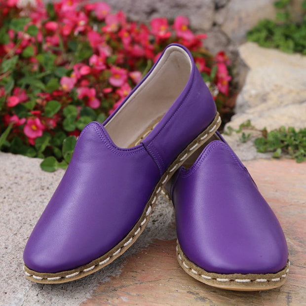 Women's Handstitched Slip-On Leather Flat Shoes
