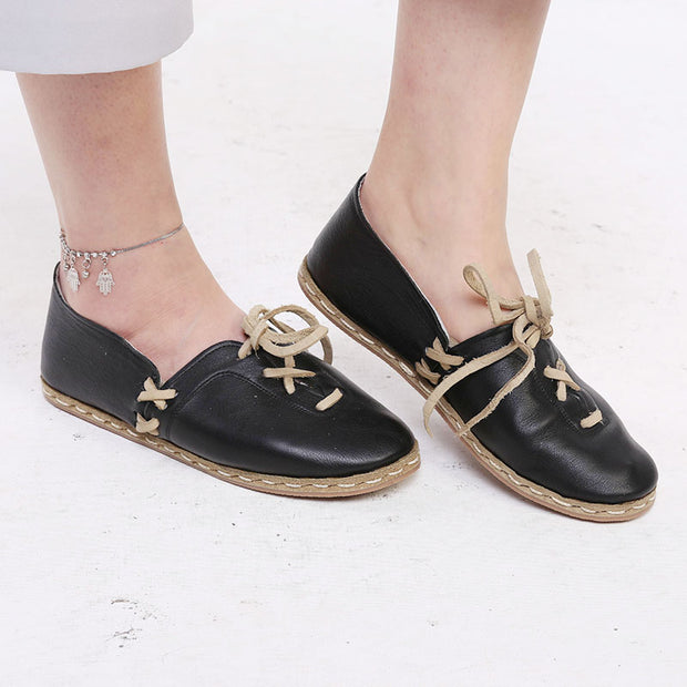Women's Comfy Handstitched Slip-On Leather Flat Shoes