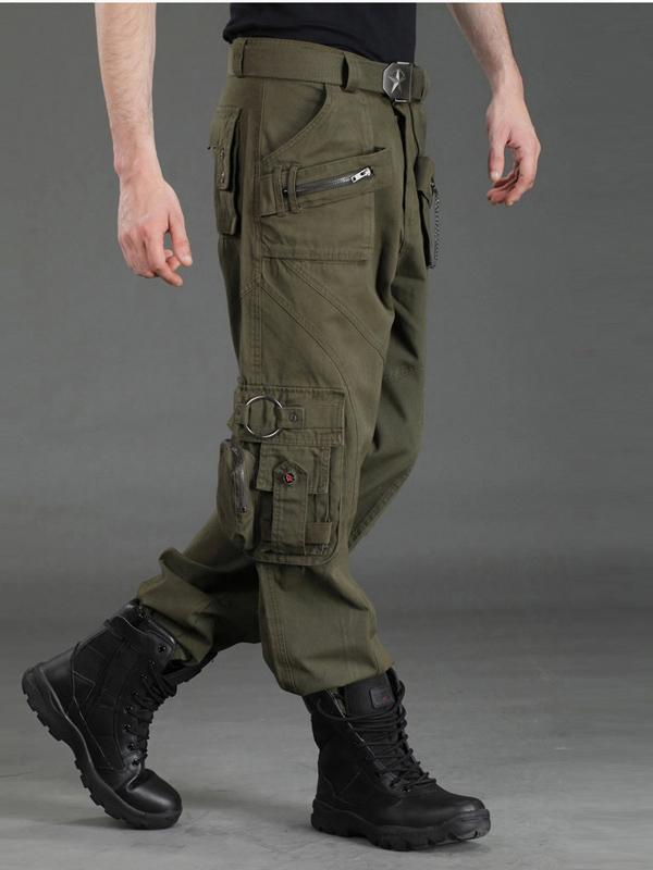 Men's loose straight multi-pocket overalls Outdoor camouflage pants