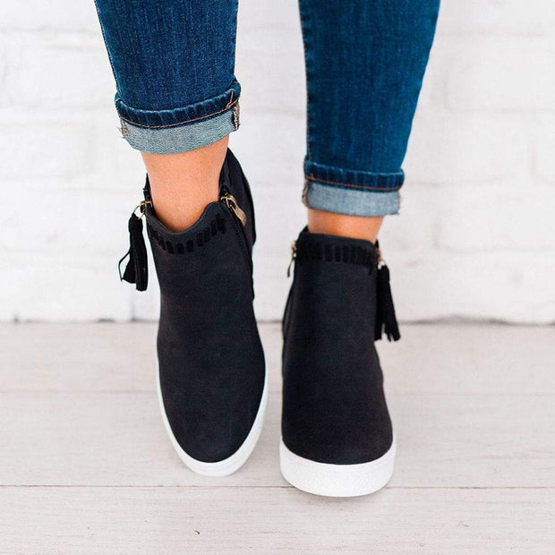 Women's Suede Zip Wedge Tassel Sneaker Shoe