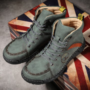Men's Outdoor Hand-stitched Leather Colorblock Hiking Ankle Boots