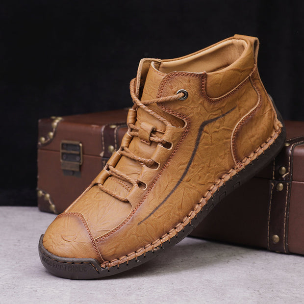 Men's' Retro Cow Leather Non Slip Hand Stitching Casual Boots