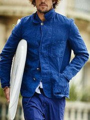 Cotton and linen cardigans for men's shirts in solid colors for fall