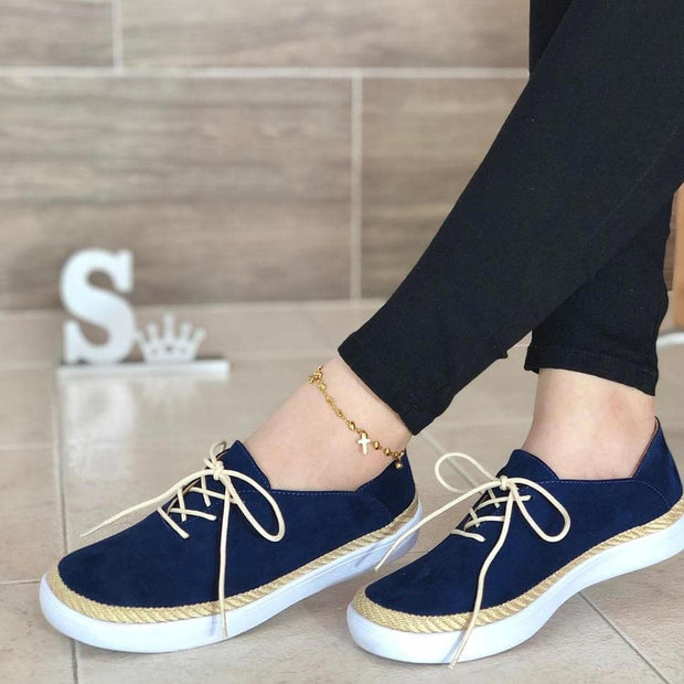 Women's Comfy Suede Lace-up Sneakers
