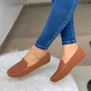 Women's Comfy Suede Slip-On Hollow Flat Shoes Loafer
