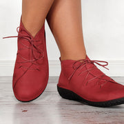 Women's Vintage Low Heel Daily Lace up Boots