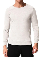 Men Fashionable Leisure Fit Pullover Long Sleeve Round Neck T-Shirt