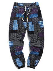Tribal Ditsy Patchwork Print Long Jogger Pants