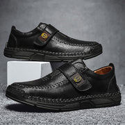 Men's Comfy Leather Velcro Loafer Driving Shoes