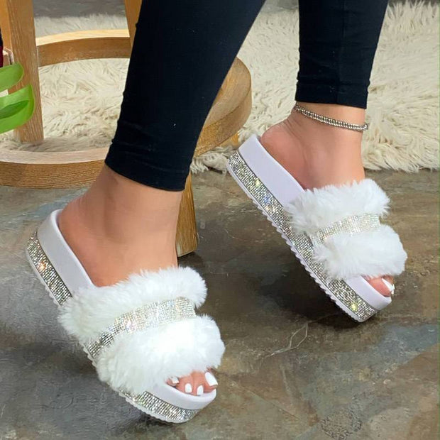 Women's Chic Faux Fur Rhinestone Casual Slip On Slippers