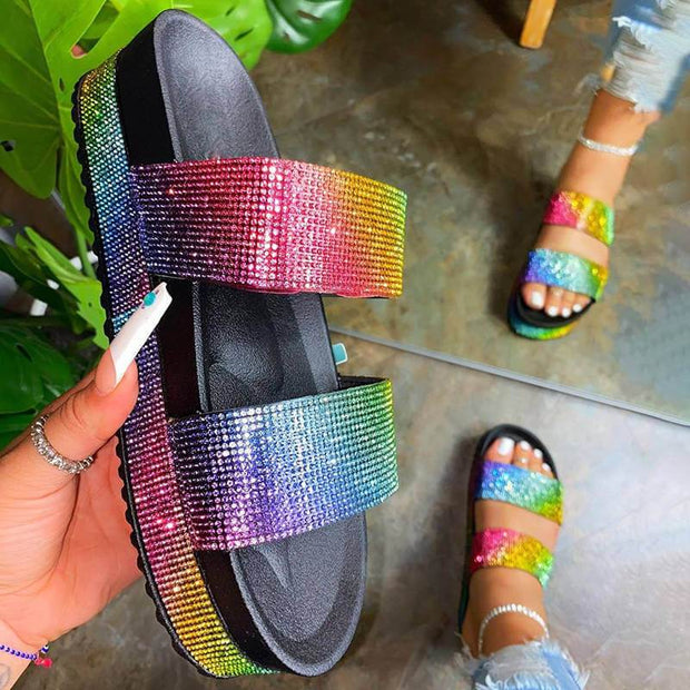 Women Shining Rhinestone Rainbow Open Toe Slip On Platform Slippers