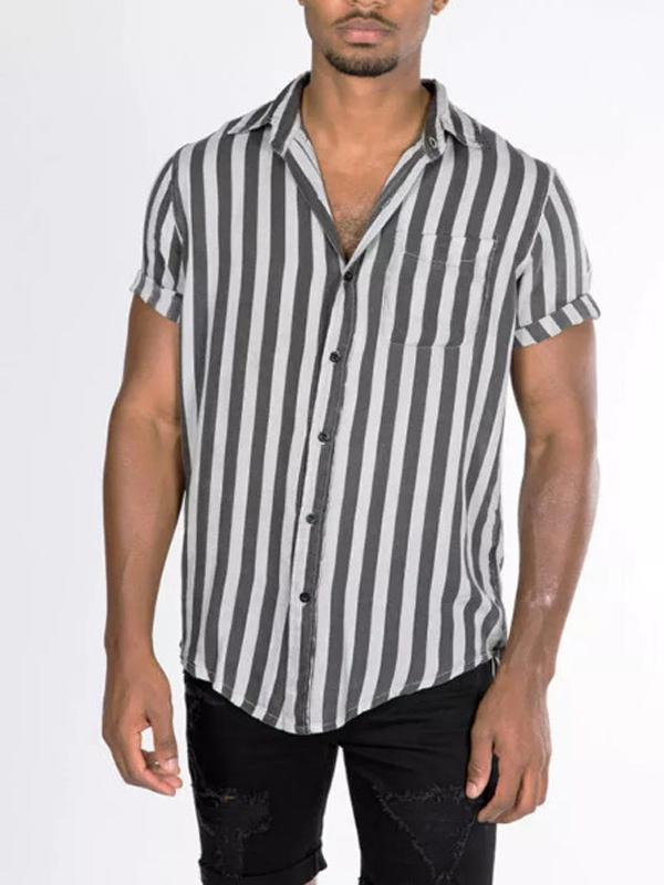 Men's Striped Printed Short Sleeve Shirts