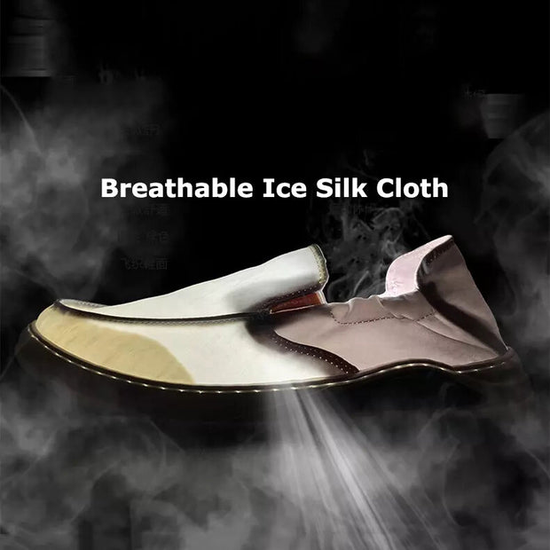 Men Ice Silk Cloth Breathable Light Weight Slip On Casual Shoes