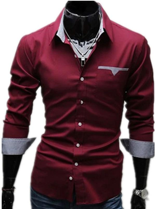 Men's Plus Size Solid Colored Basic Slim Shirt Business Daily Work Classic Collar
