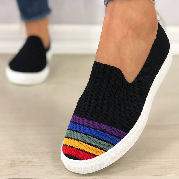 Women's Comfy Flyknit Fabric Hit Color Rainbow Slip On Platform Loafers