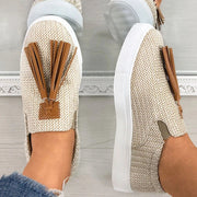 Women's comfortable woven tassel flat casual shoes