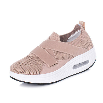 Women's Breathable Mesh Flying Woven Platform Sneakers