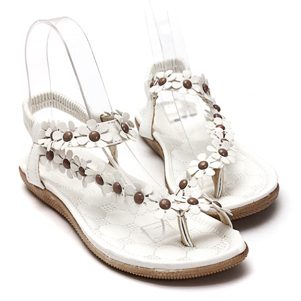 Women Bohemia Flowers Splice Clip Toe Flat Slip On Sandals