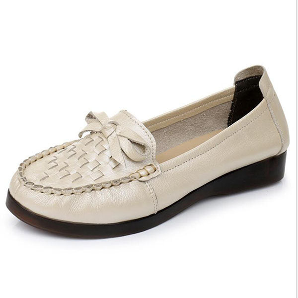 Women Casual Genuine Leather Butterfly Knot Braided Flats 131072