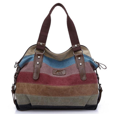 Women's Color Patchwork  Canvas Shoulder Cross Body Bag